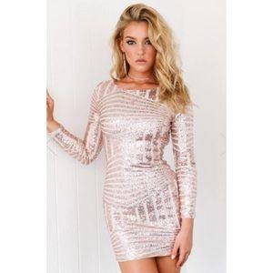 Xenia Boutique Rose Gold Sequin Dress